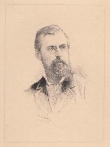 Gravure réalisée par Lalauze en             représentant Albert Robida.